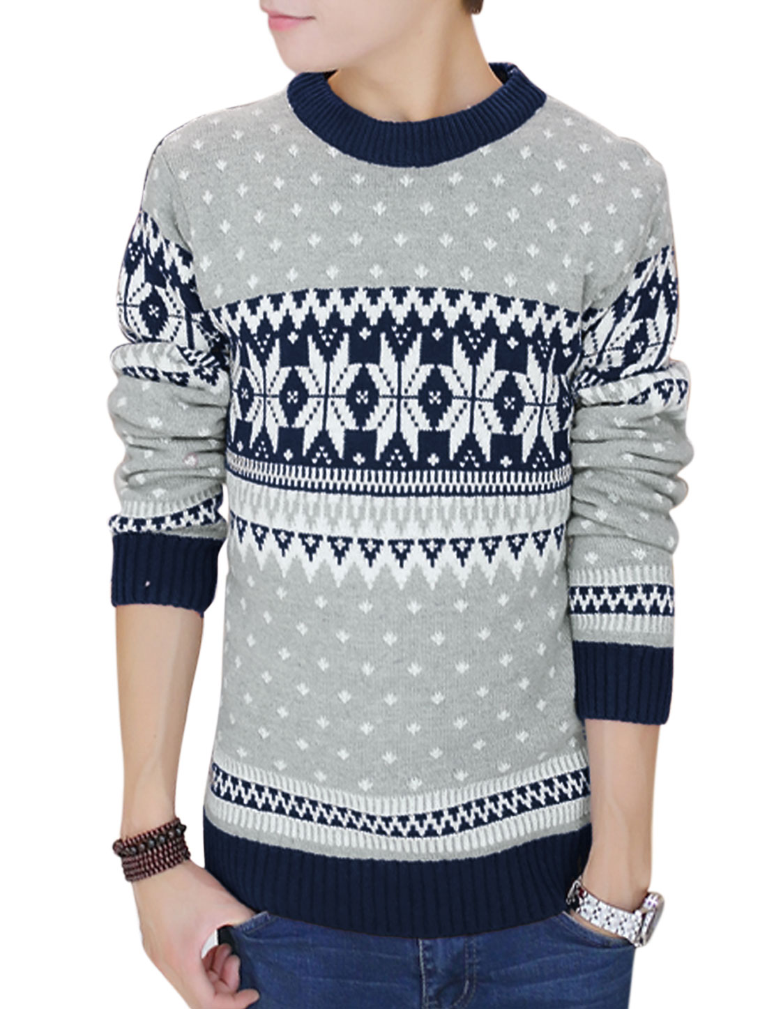 Men Pullover Geometric Zig-zag Pattern Casual Sweater Navy Blue M