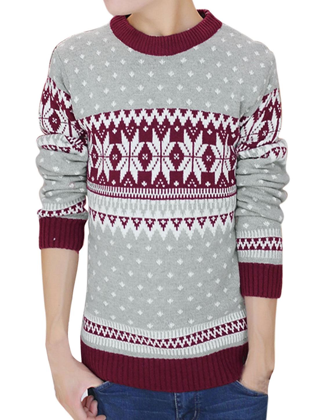 Men Long Sleeve Ribbed Trim Slipover Casual Sweater Burgundy M