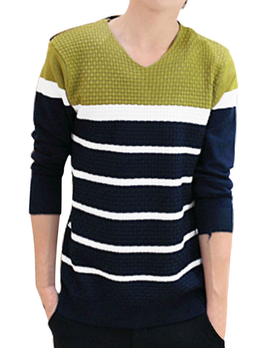 Men V Neck Contrast Color Stripes Knit Shirt Light Green Navy Blue S
