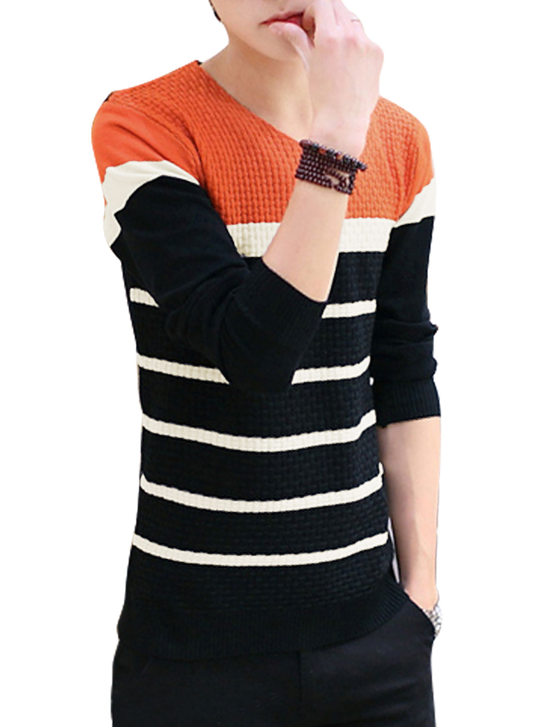 Men Contrast Color Bar Striped Slipover Knit Shirt Orange Black S