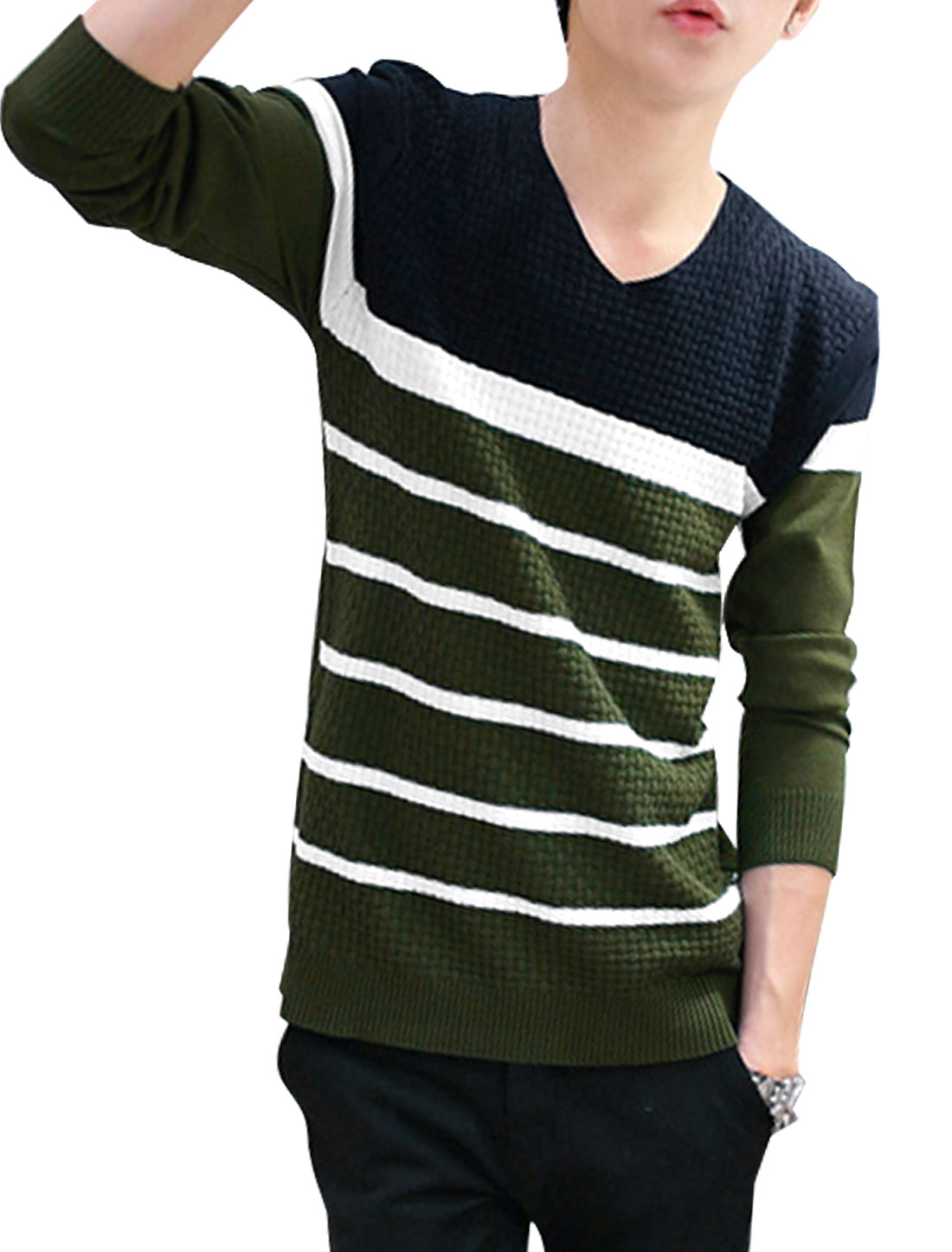 Men V Neck Stripes Color Block Knit Shirt Navy Blue Dusty Green S