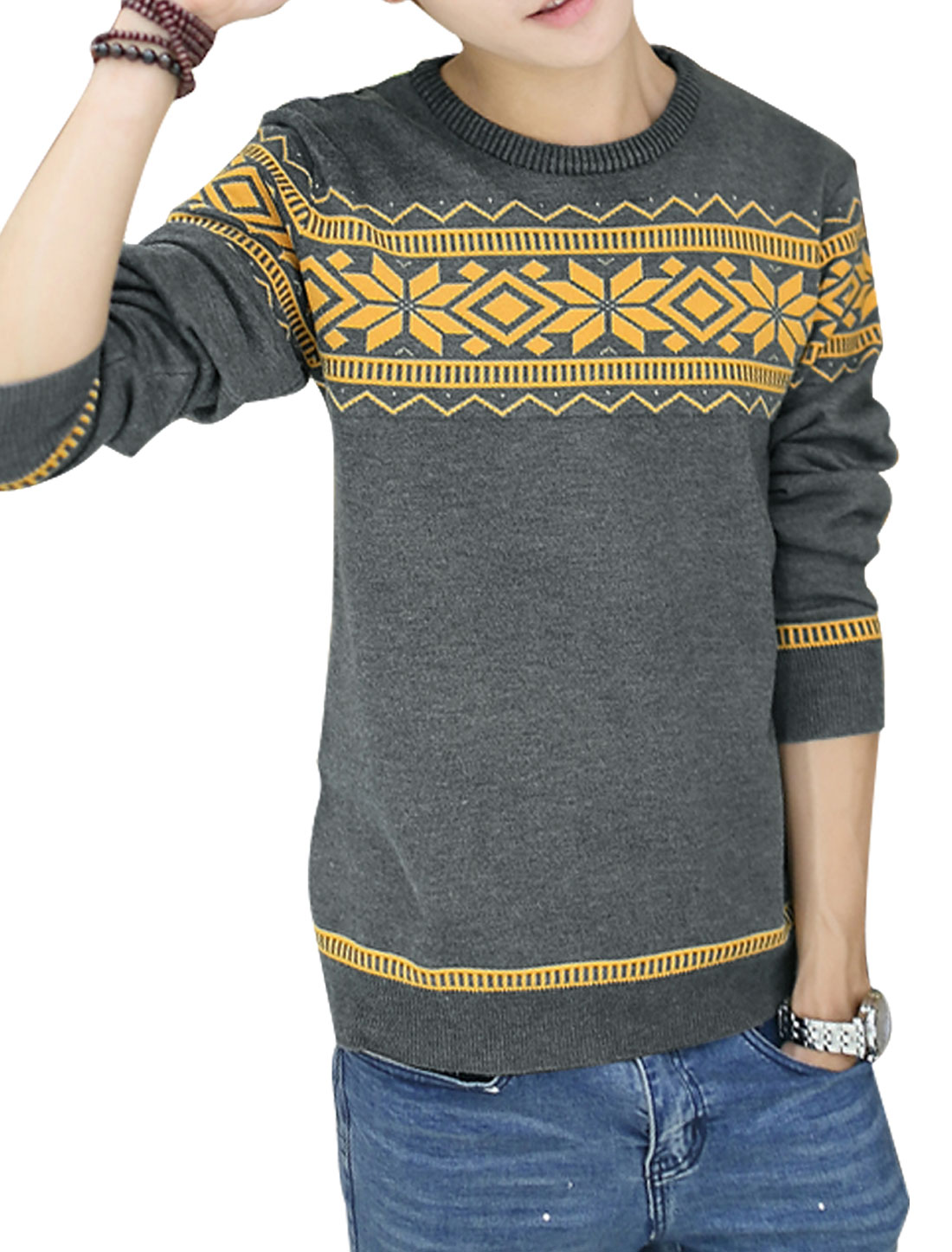 Men Crew Neck Geometric Zig-Zag Pattern Long Sleeve Knit Shirt Gray M