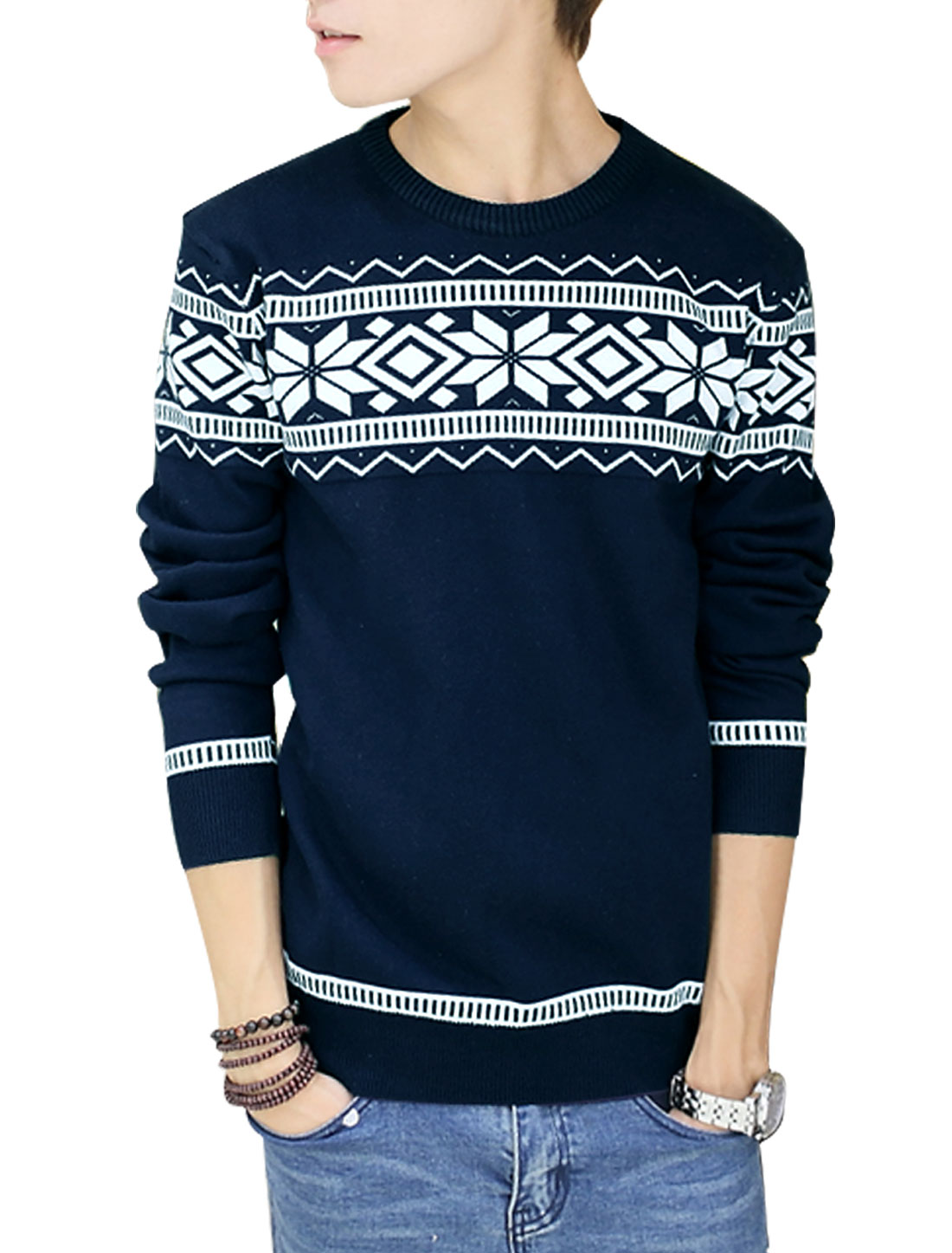 Men Slipover Geometric Zig-Zag Pattern Casual Knit Shirt Navy Blue M