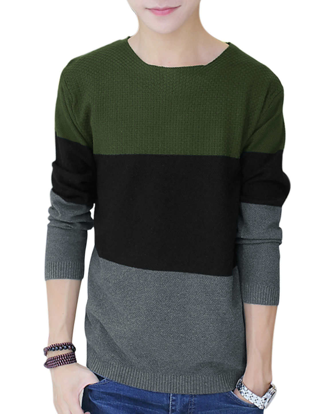 Men Round Neck Contrast Color Long Sleeve Casual Knit Shirt Army Green S