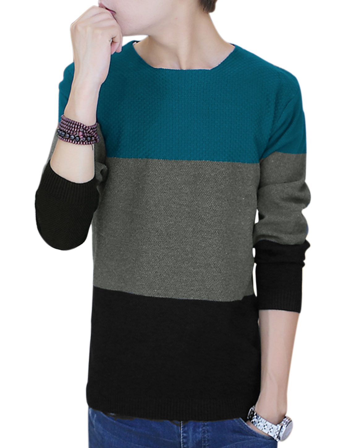 Men Round Neck Color Block Long Sleeve Casual Knit Shirt Turquoise S