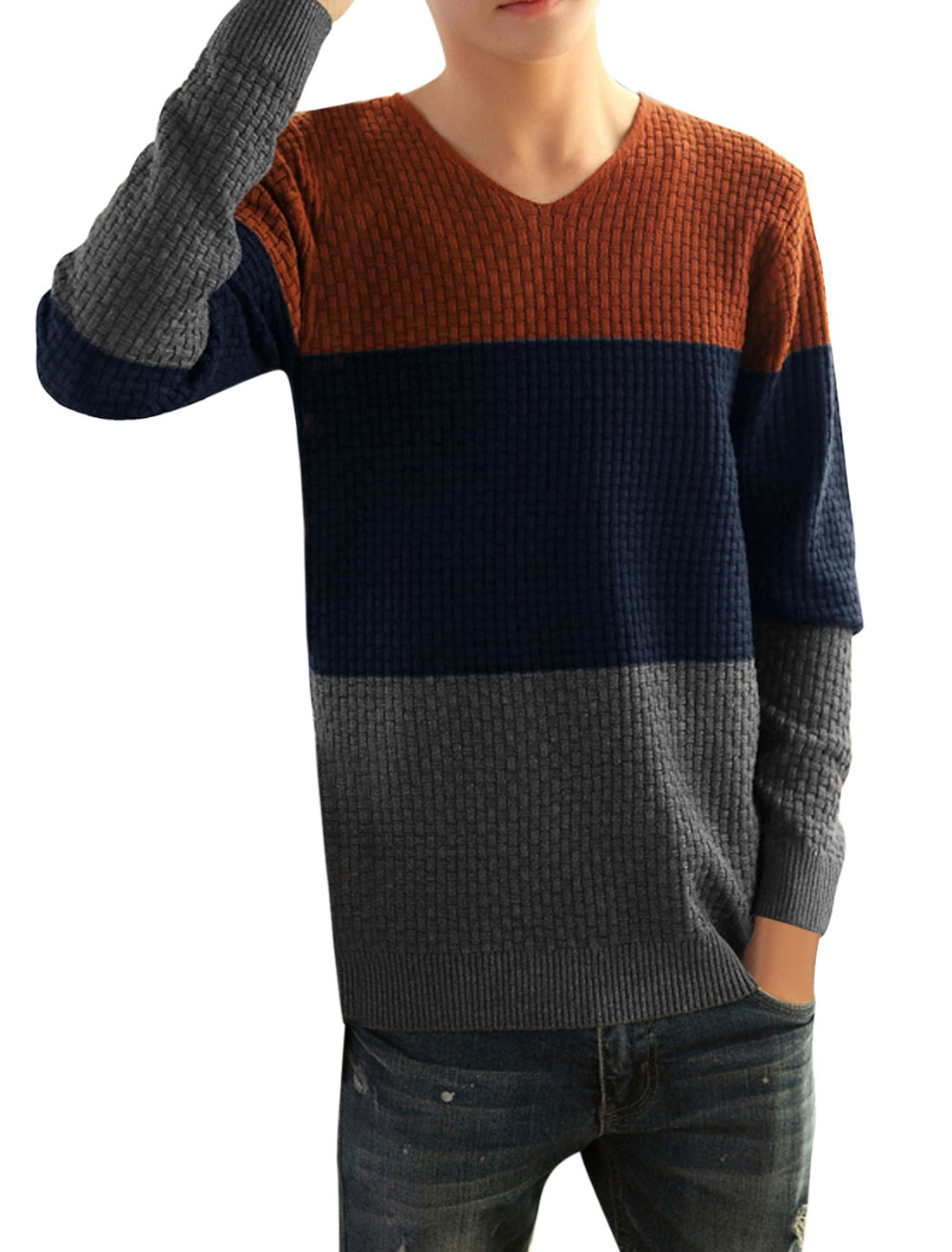 Men Contrast Color Ribbed Cuff w Hem Casual Knit Shirt Brick Red S