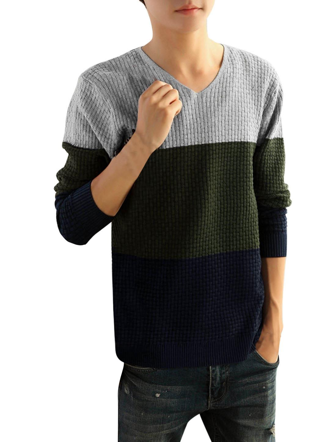 Men Color Block Long Sleeve Slipover Casual Knit Shirt Gray S