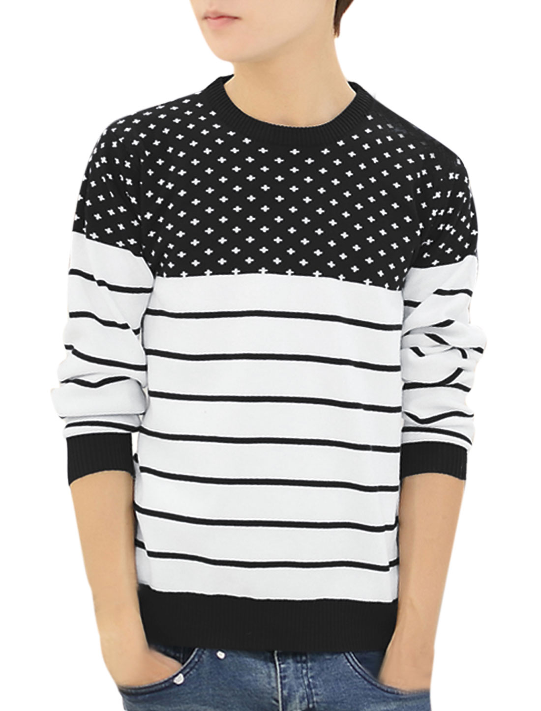 Men Crew Neck Cross Stripes Pattern Ribbed Trim Casual Sweater Black M