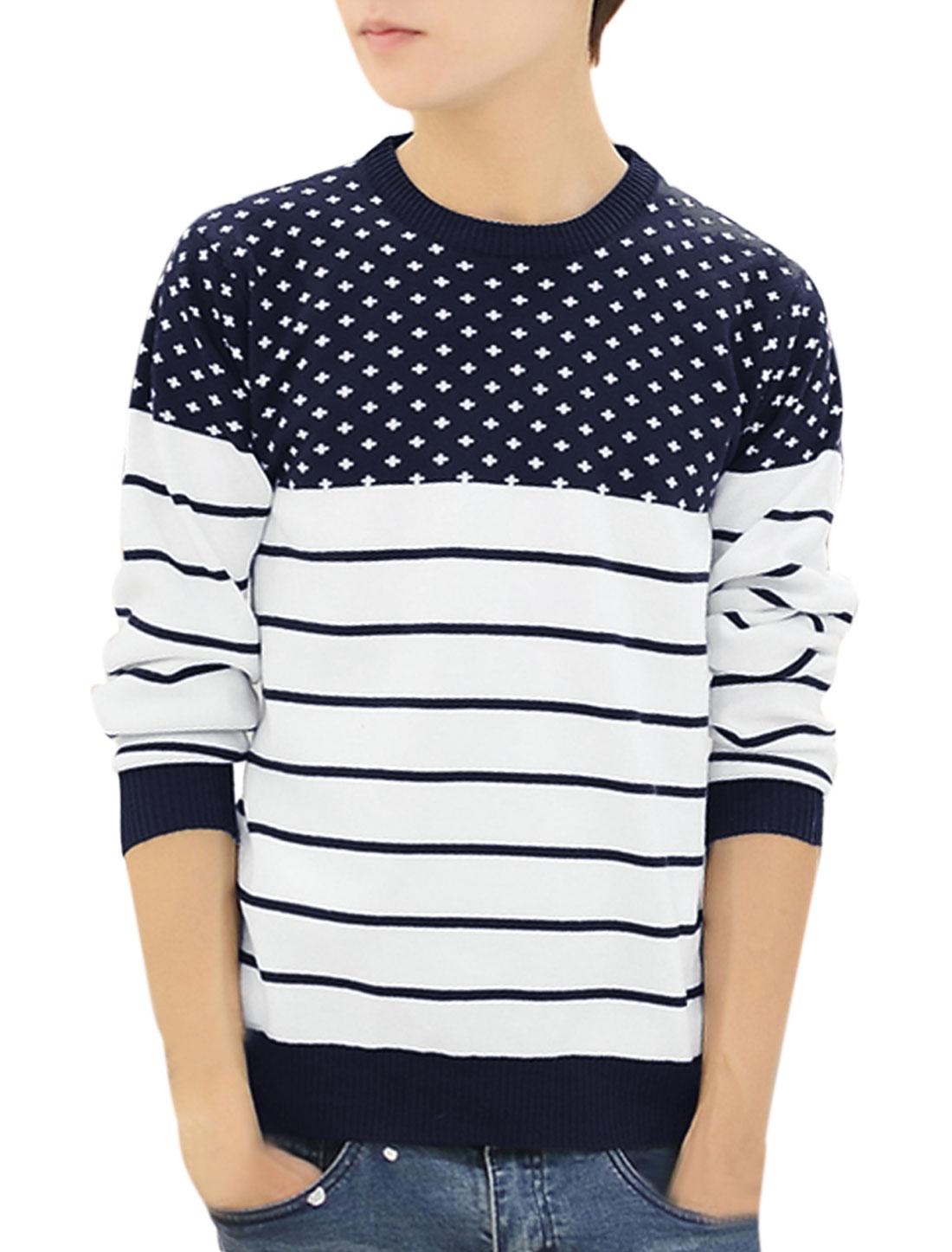 Men Crew Neck Cross Stripes Pattern Pullover Casual Sweater Navy Blue M