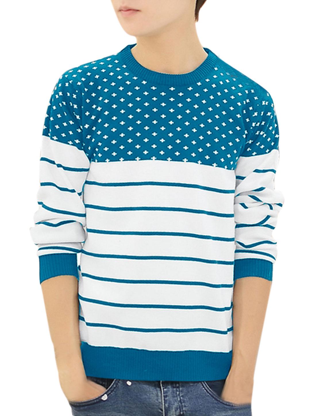 Men Crew Neck Cross Stripes Pattern Ribbing Trim Leisure Sweater Cyan M