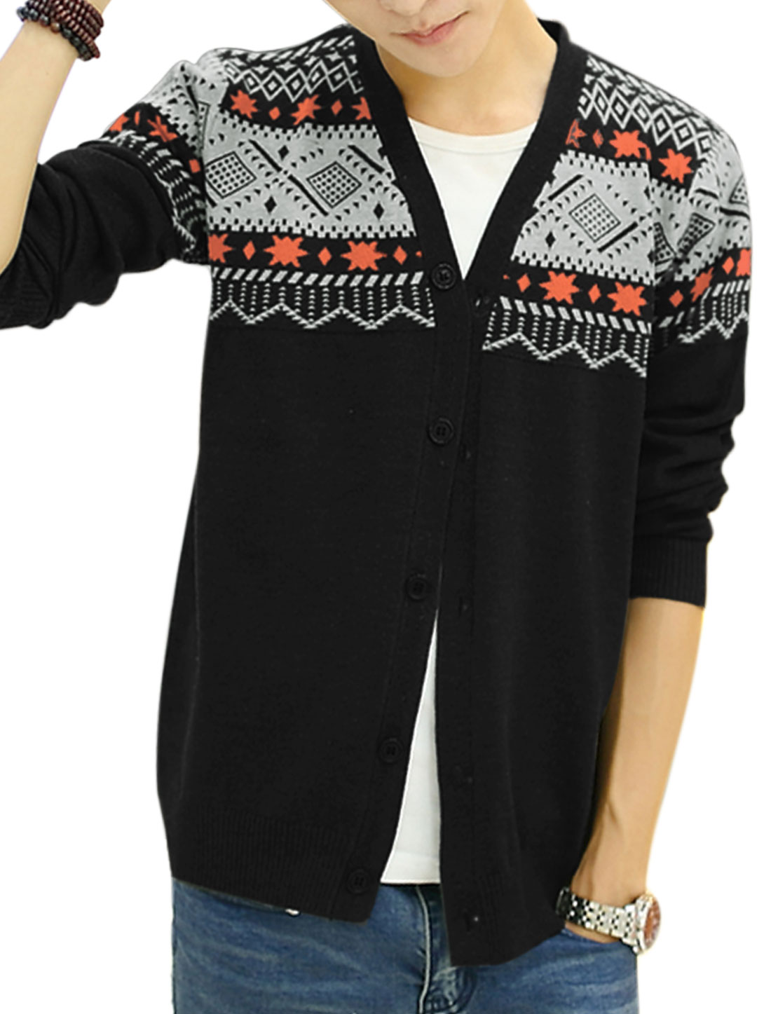 Men V Neck Geometric Pattern Single Breasted Ribbed Hem Cardigan Black S
