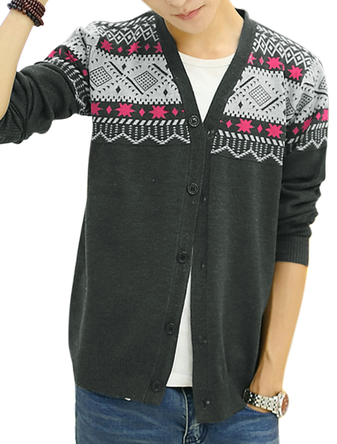 Men Button Closure Front Geometric Pattern Casual Cardigan Dark Gray S