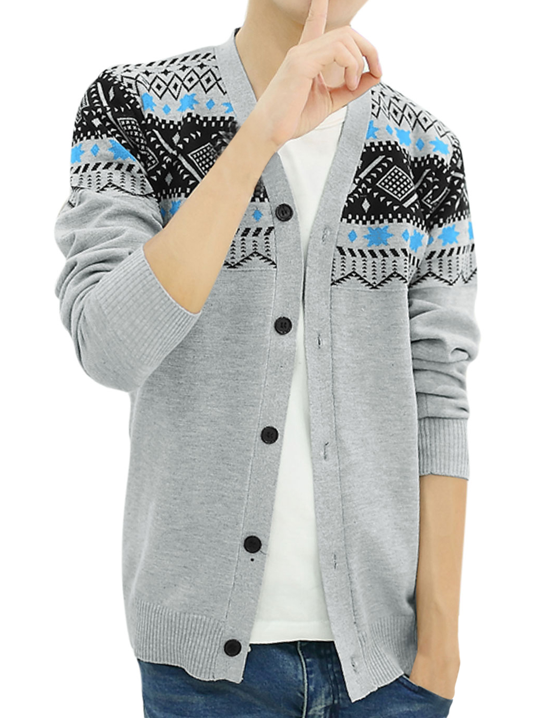 Men Single Breasted Long Sleeve Ribbed Cuff Casual Cardigan Light Gray S