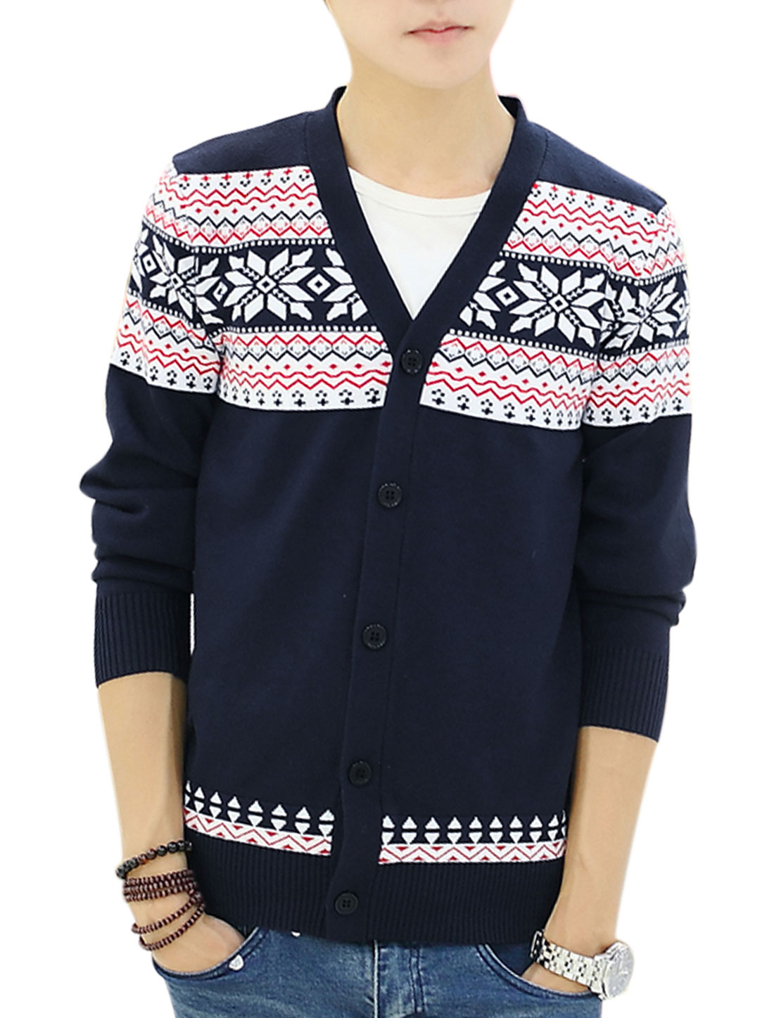 Men V Neck Button Closure Front Long Sleeve Casual Cardigan Navy Blue S