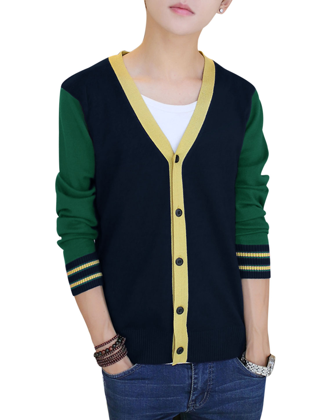 Men Contrast Color Single Breasted Long Sleeve Cardigan Sea Green S