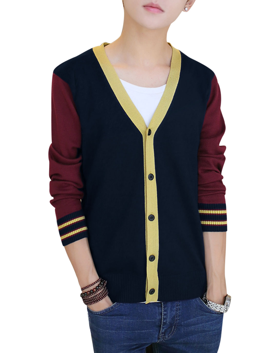 Men Button Closure Front Color Block Cardigan Burgundy Navy Blue S