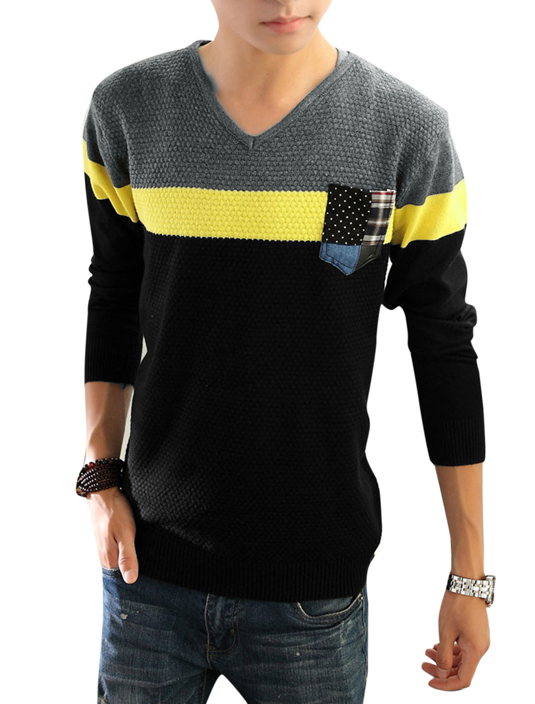 Men Contrast Color Chest Pocket Long Sleeve Knit Shirt Black Yellow S