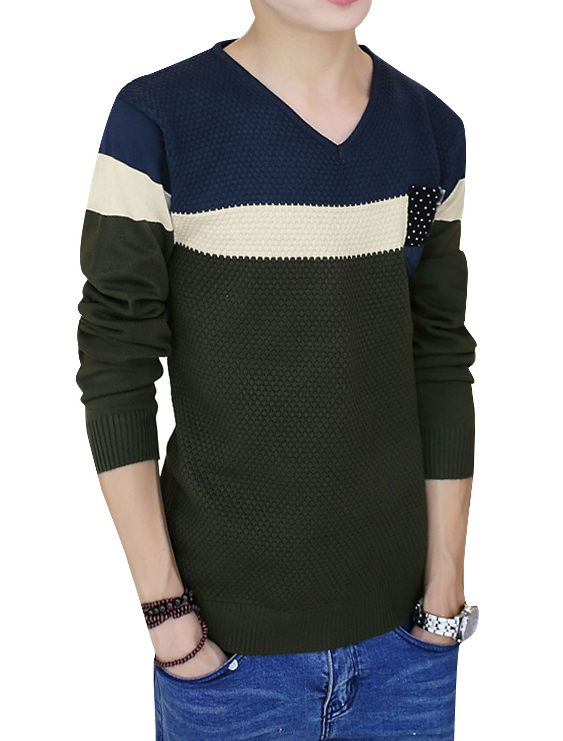 Men Color Block Spliced Chest Pocket Knit Shirt Beige Army Green S