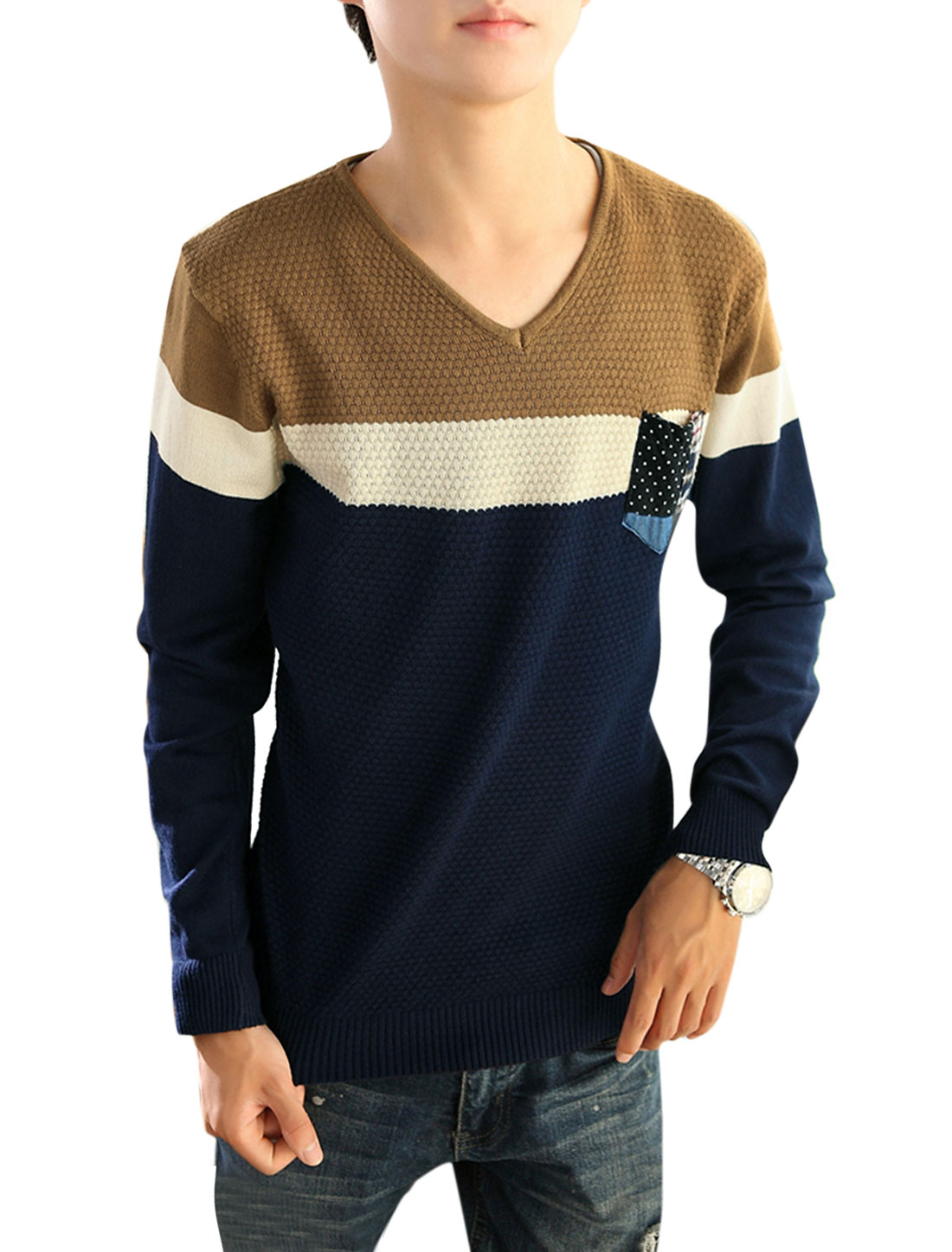 Men Color Block Ribbed Trim Slipover Casual Knit Shirt Beige Camel S