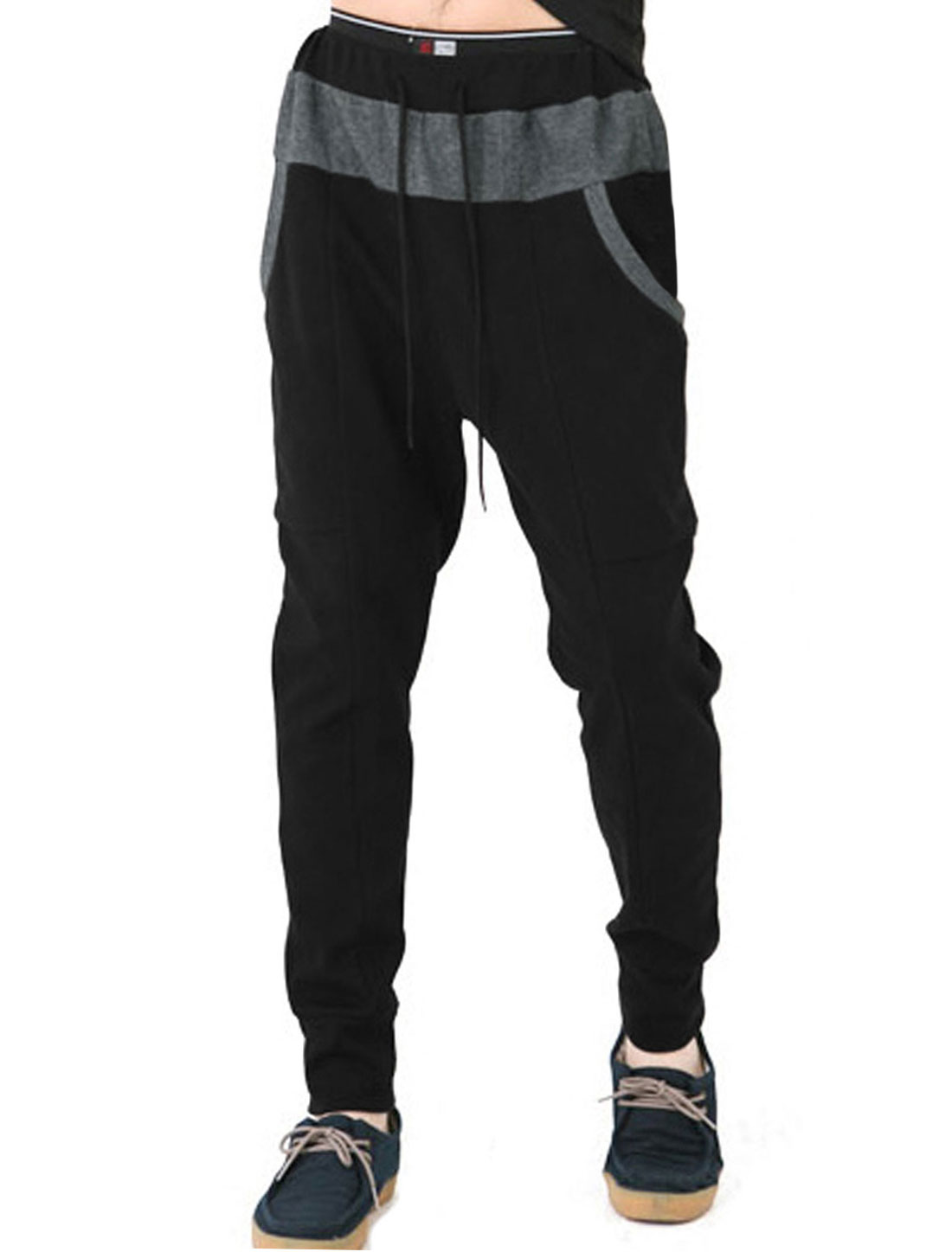 Men Drawstring Big Side Pockets Contrast Color Leisure Pants Black W30
