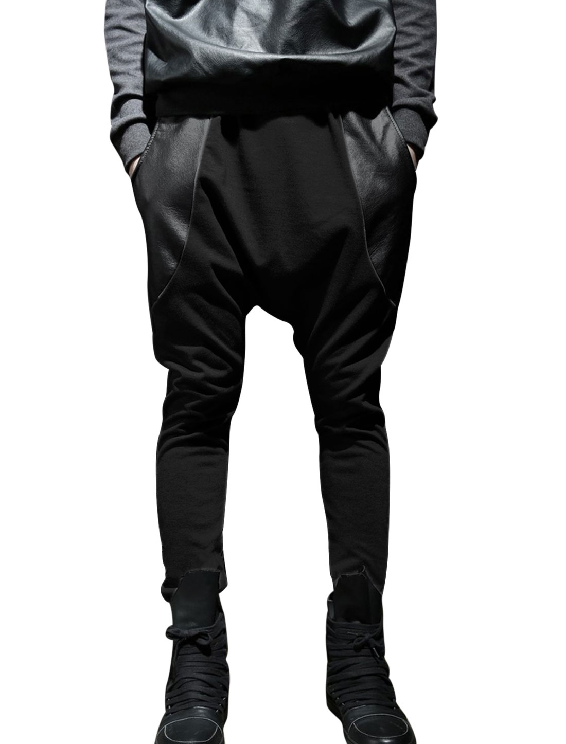 Men Drawstring Waist Loose Imitation Leather Panel Harem Pants Black W30