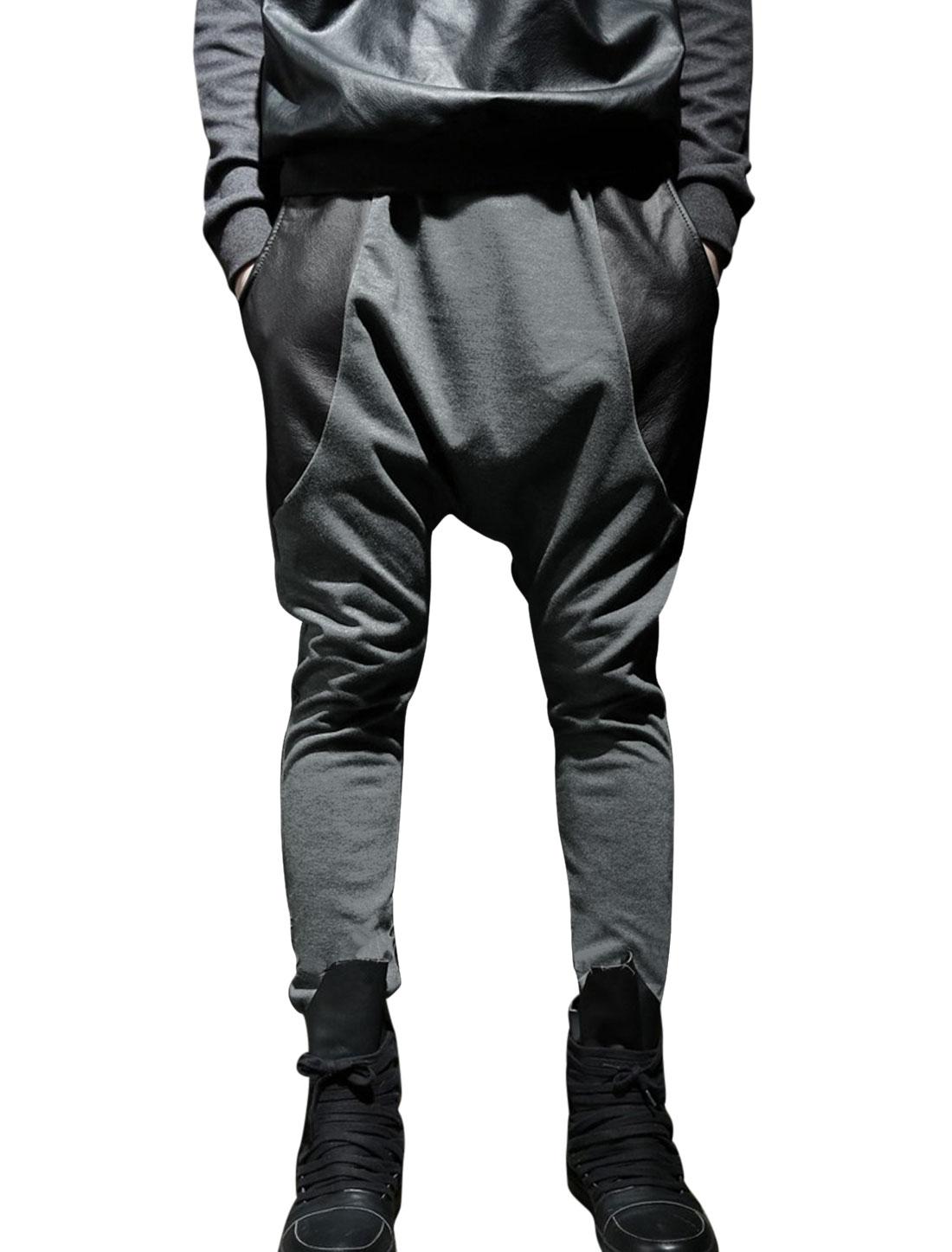 Men Drawcord Waist Imitation Leather Panel Harem Trousers Gray W30