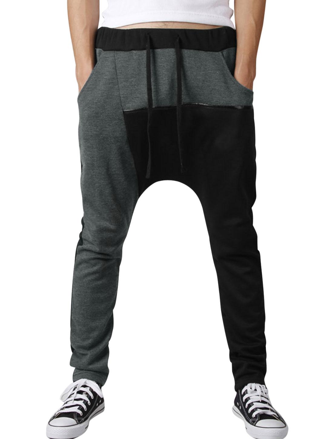 Men Contrast Color Splicing Patch Pockets Back Casual Harem Pants Black Dark Gray W30