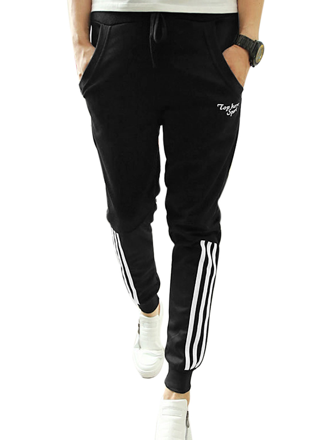Men Drawstring Ribbed Cuffs Stripes Line Decor Casual Sport Pants Black W30