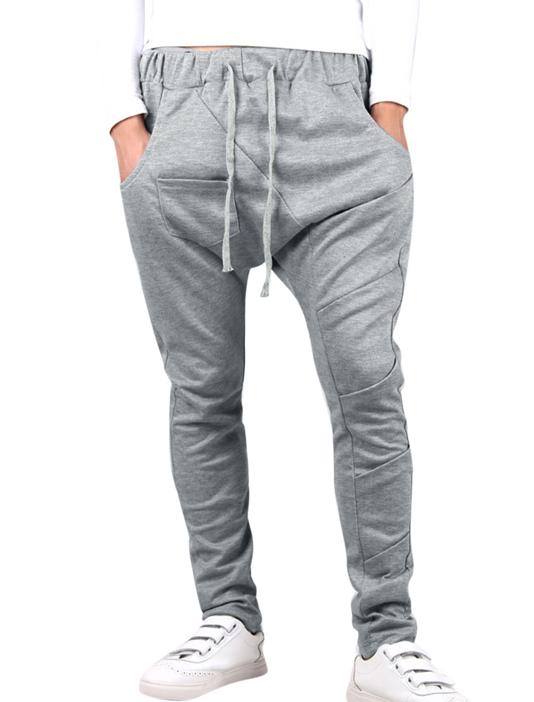 Men Elastic Waist Ruched Design Casual Long Pants Light Gray W30