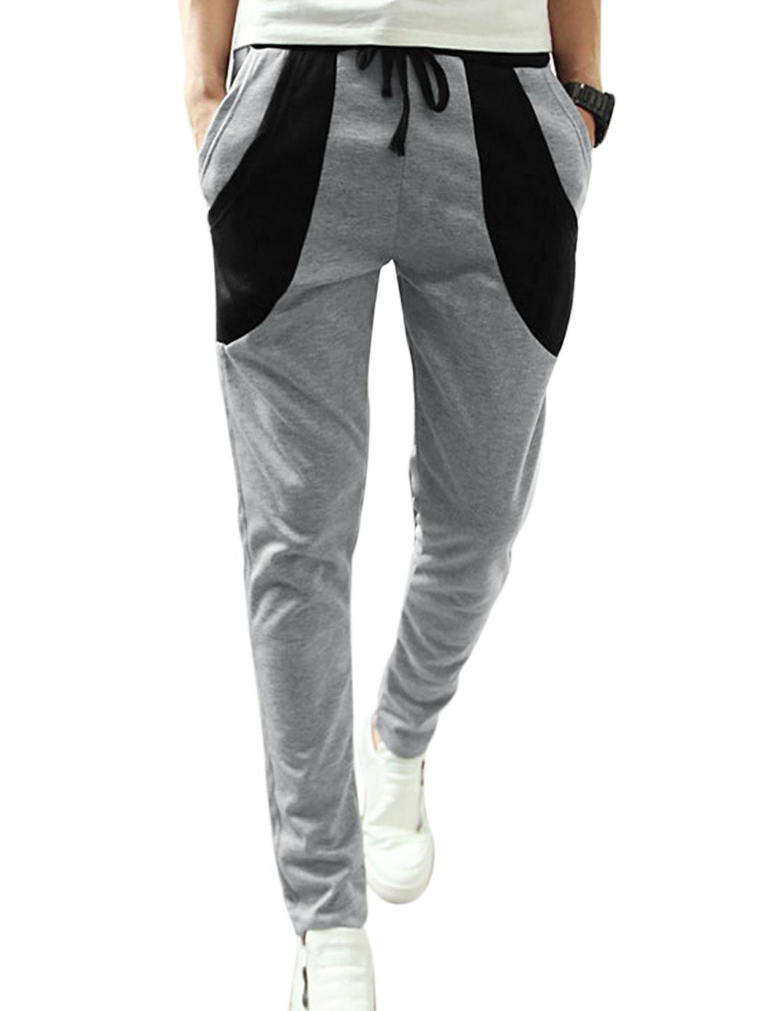Men Drawstring Waist Two Slant Pockets Panel Casual Pants Light Gray W30