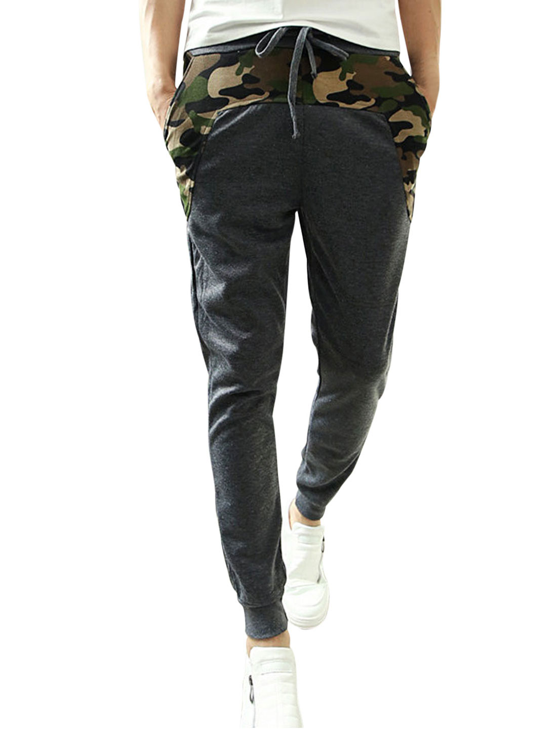 Men Fashion Drawstring Camouflage Pattern Patched Design Casual Pants Dark Gray W30
