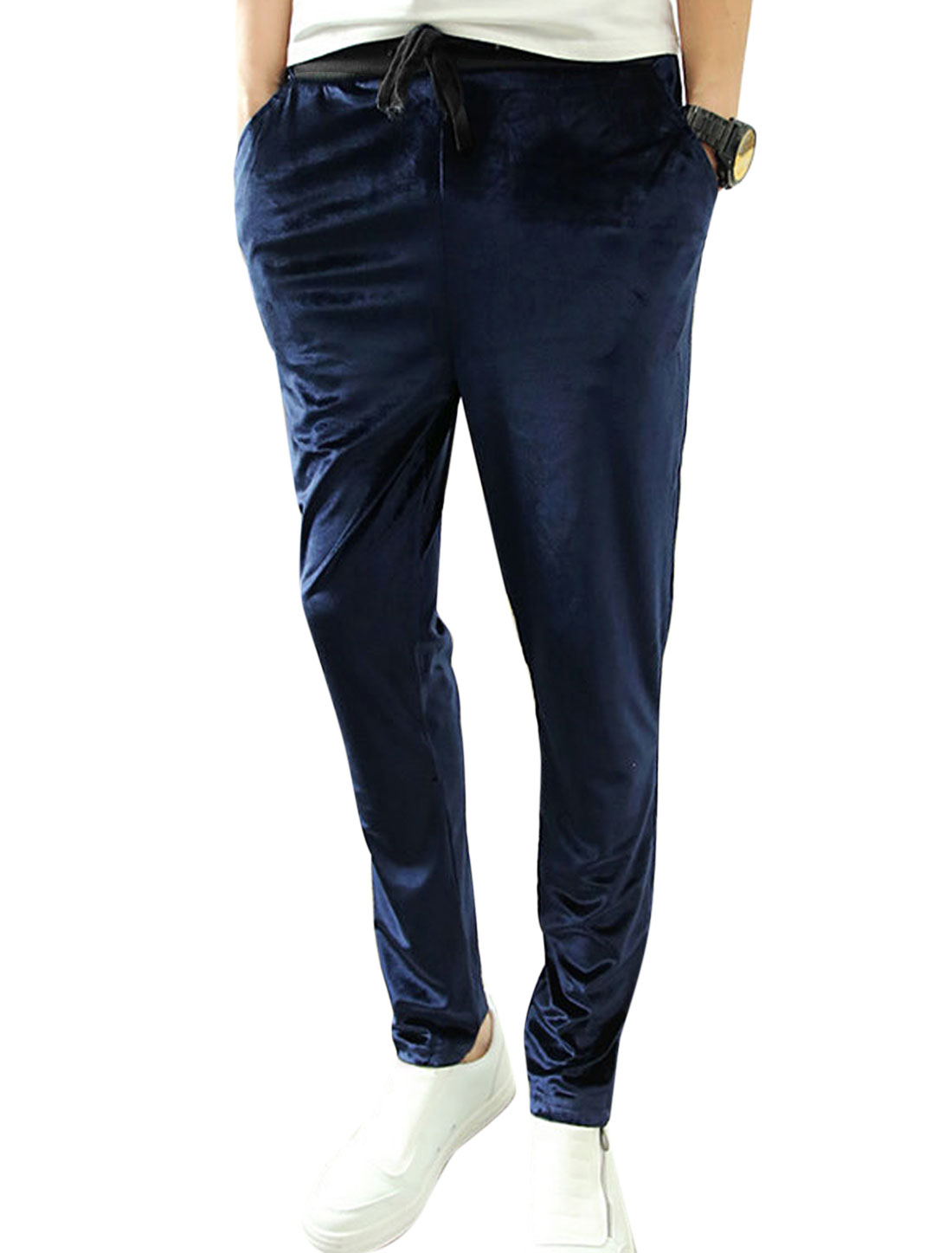 Men Korean Style Drawcord Waist Casual Trousers Navy Blue W30