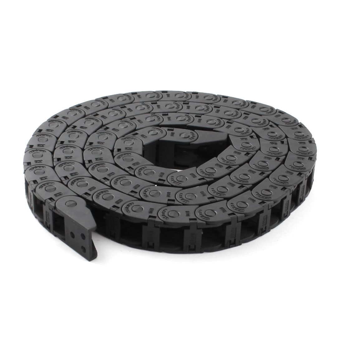 Black Plastic Open 10mmx10mm Wire Cable Carrier Drag Chain 3.4Ft Length