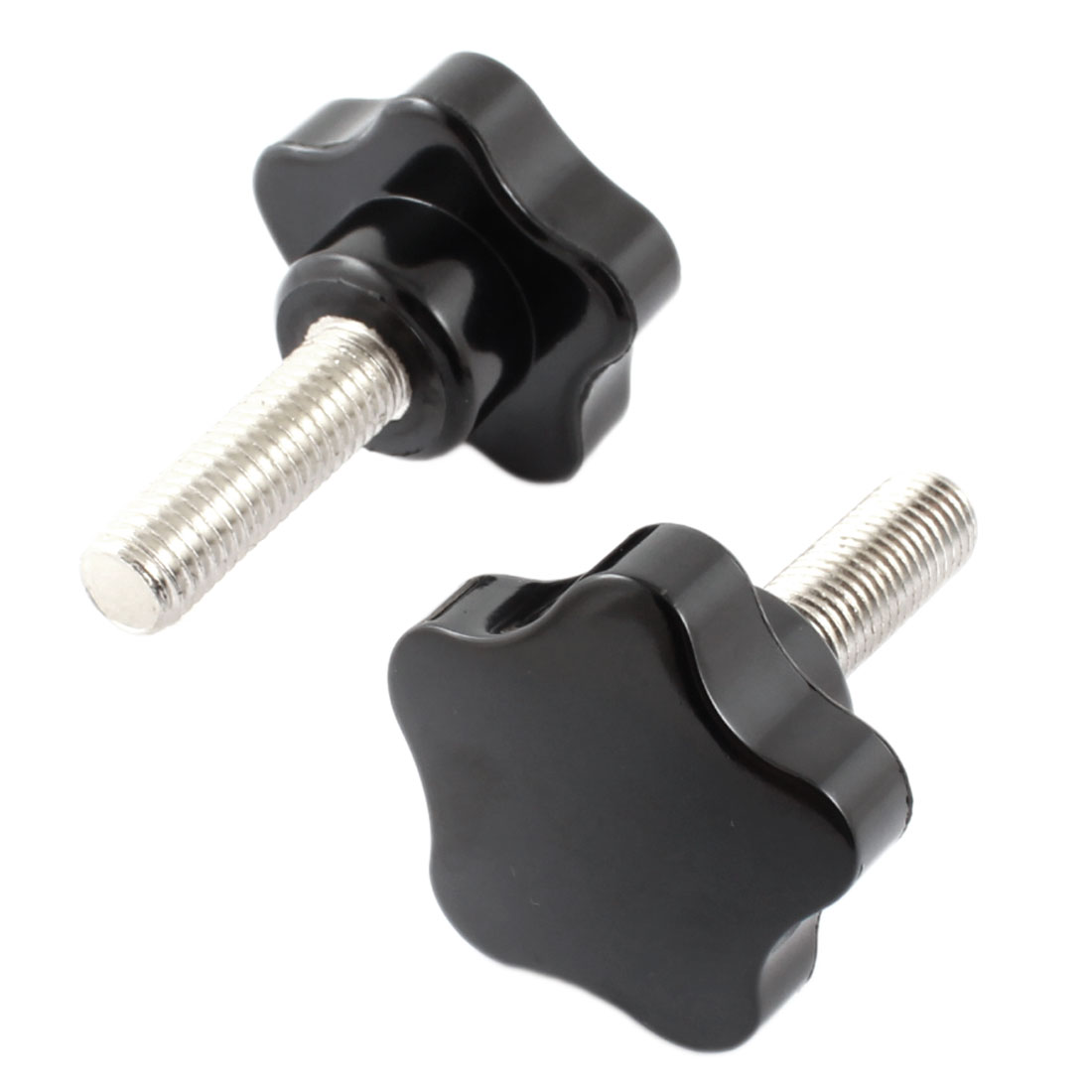40mm x 12mm Thread Plastic Five Pointed Star Head Clamping Screw Knob Handle Black 2 Pcs