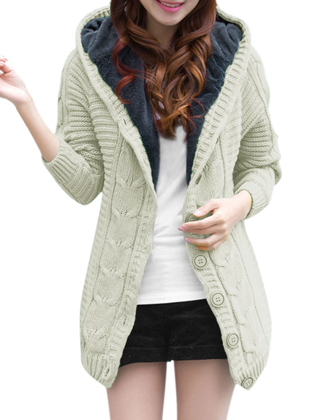 Women Long Raglan Sleeve Single Breasted Hooded Knitted Cardigan Beige XS