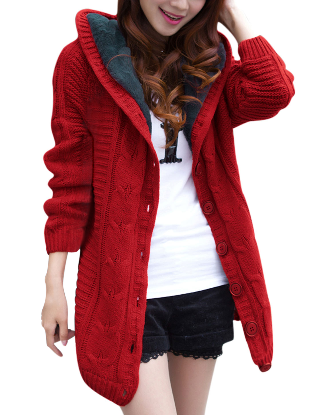 Women Long Raglan Sleeve Fleece Lined Hooded Knitted Cardigan Red XS