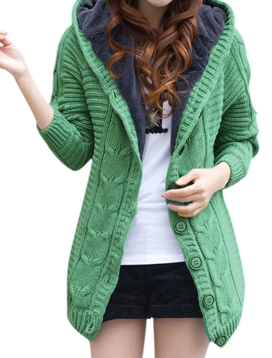 Women Buttons Closure Fleece Lined Hooded Knitted Cardigan Light Green XS
