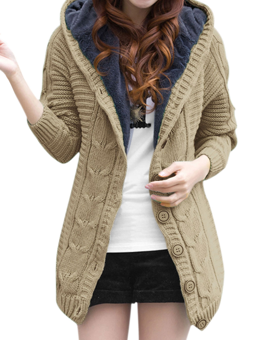 Women Buttons Closed Fleece Lining Hooded Knitted Cardigan Khaki XS