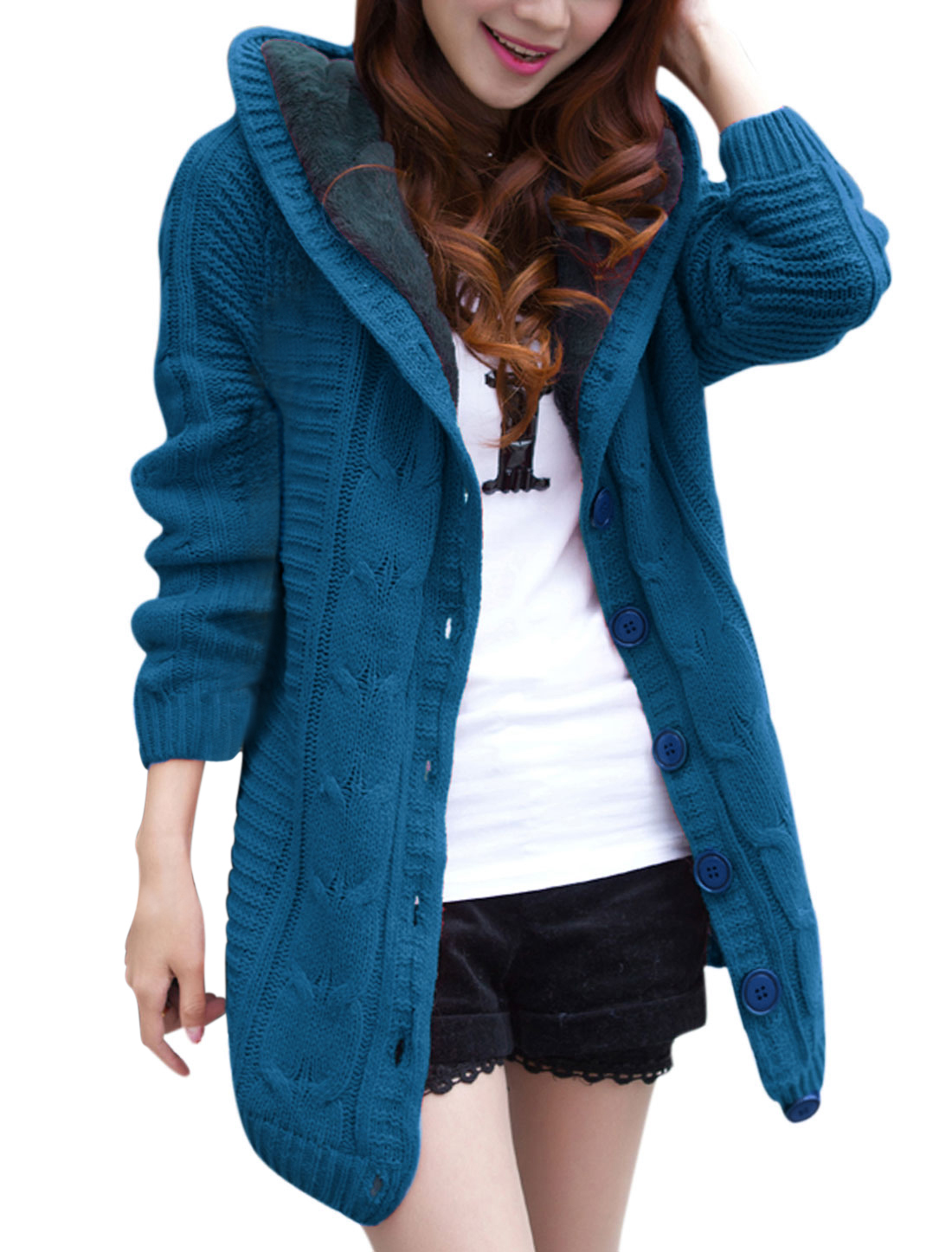 Women Buttons Closed Long Raglan Sleeve Hooded Knitted Cardigan Dark Turquoise XS