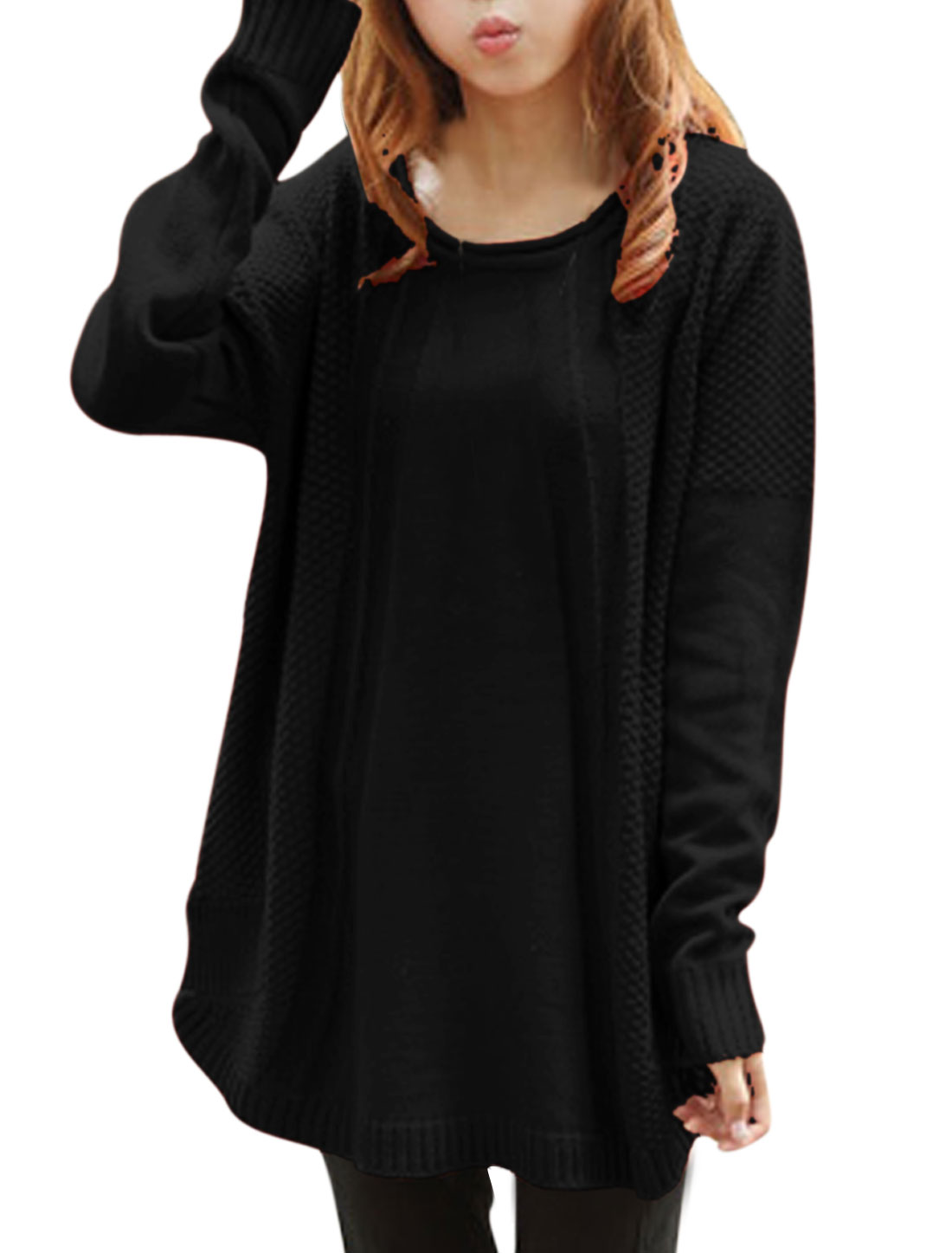 Women Pullover Long Batwing Sleeve Loose Tunic Knitting Sweater Black XS