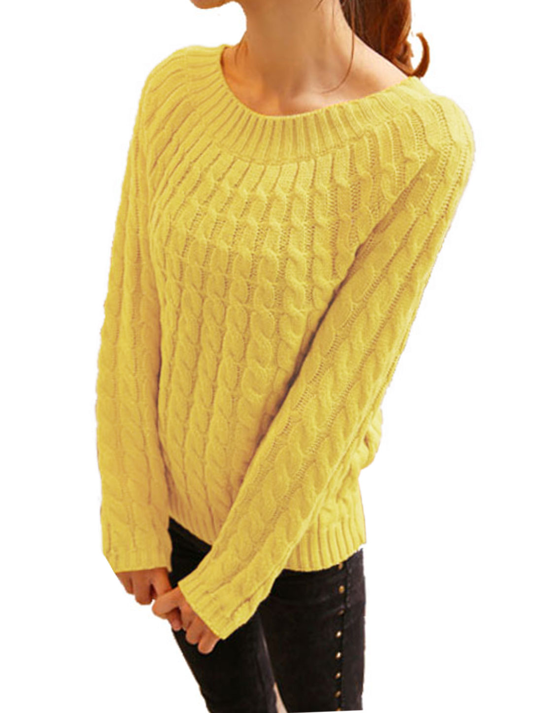 Ladies Long Raglan Sleeve Cable Rib Knit Design Casual Sweater Yellow S