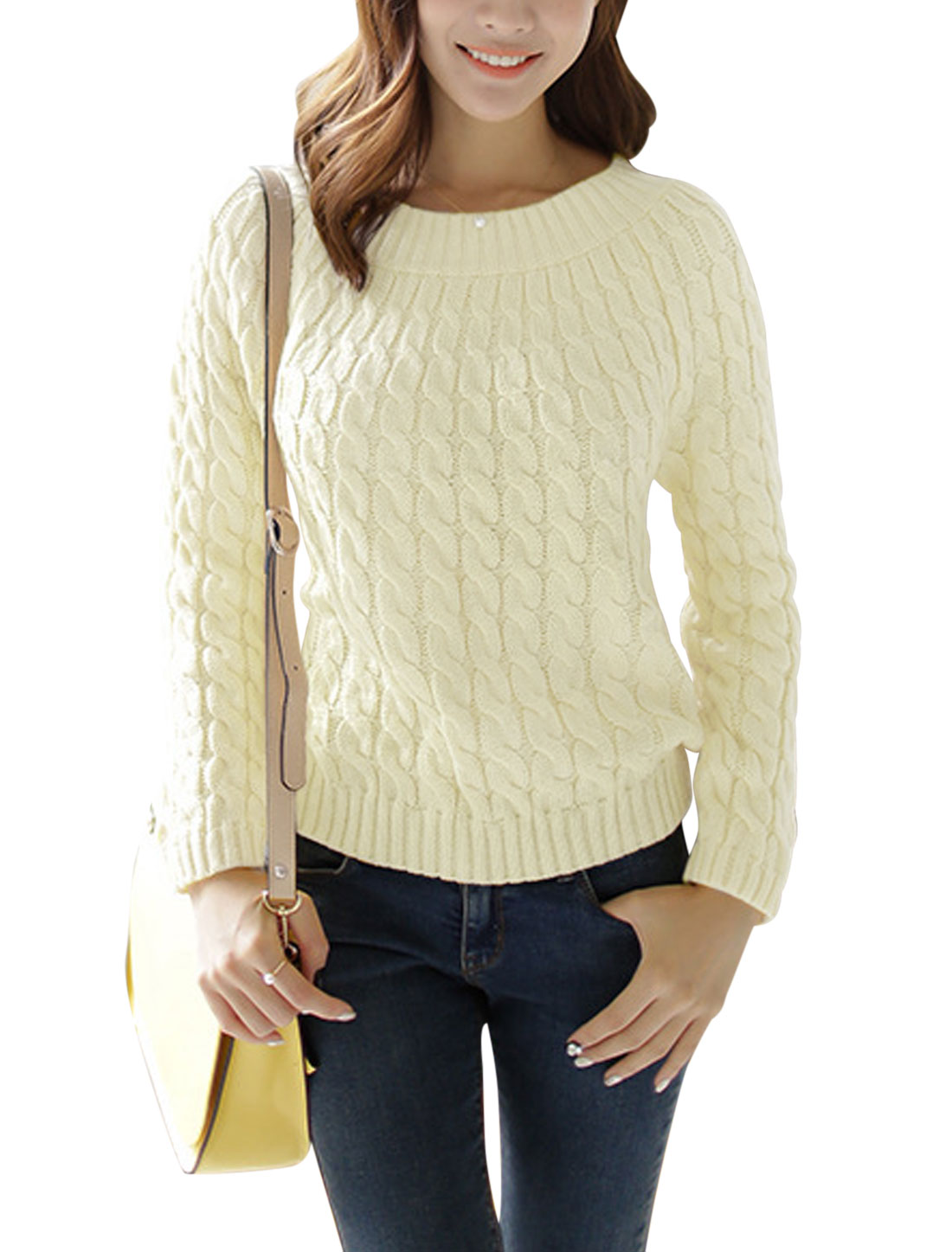 Ladies Round Neck Pullover Cable Rib Knit Design Casual Sweater Beige S