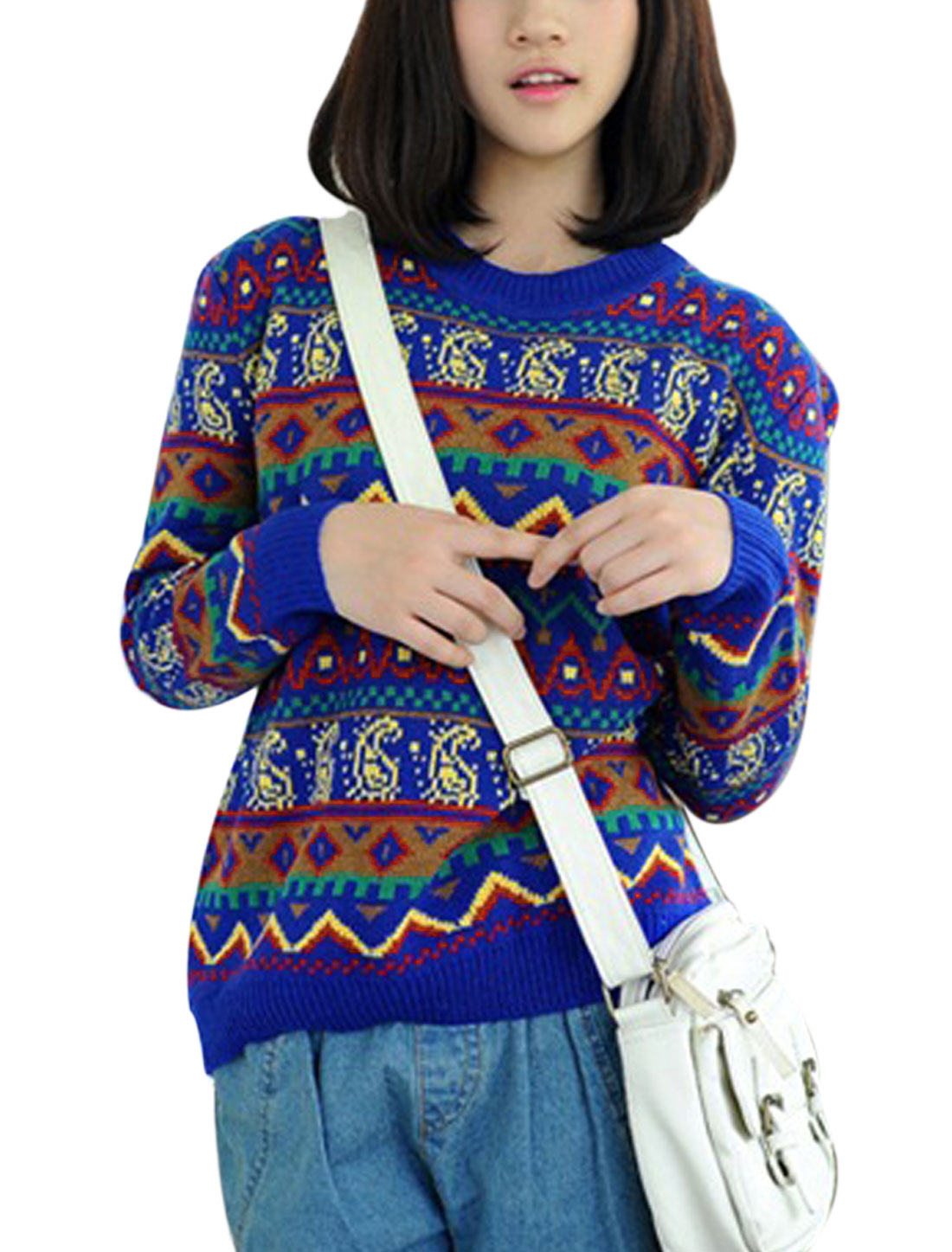 Ladies Crew Neck Geometric Paisleys Pattern Casual Sweater Royal Blue XS