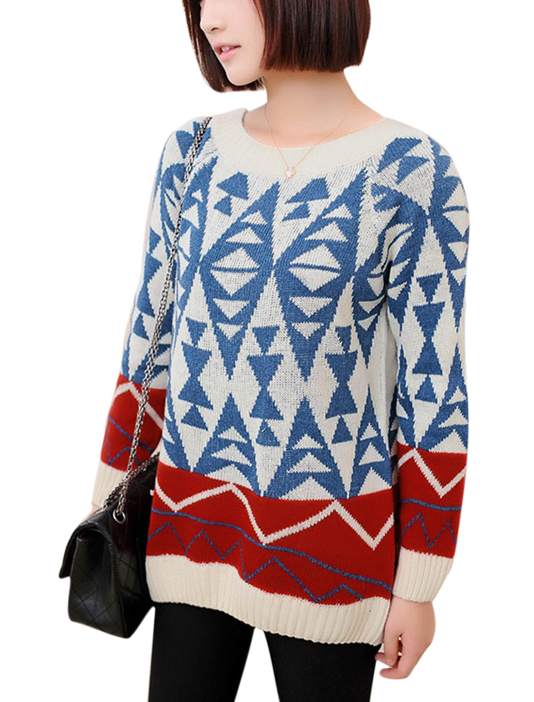 Women Long Raglan Sleeve Geometric Pattern Casual Sweater Multicolor XS
