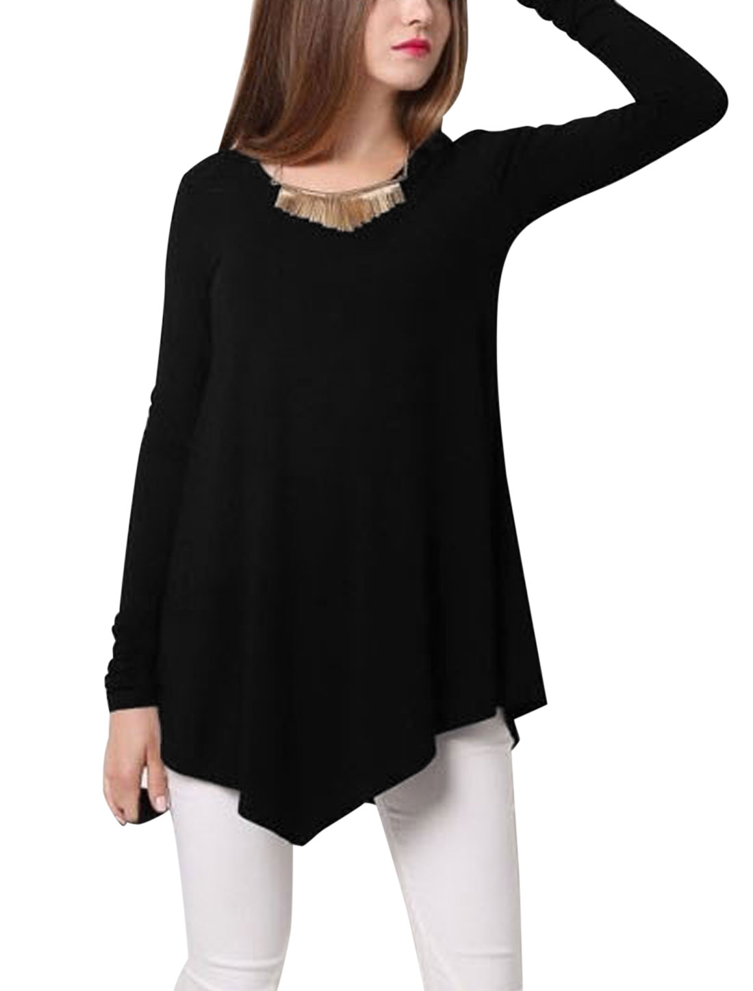 Women V Neck Long Sleeve Asymmetric Hem Casual Loose Tunic Top Black S