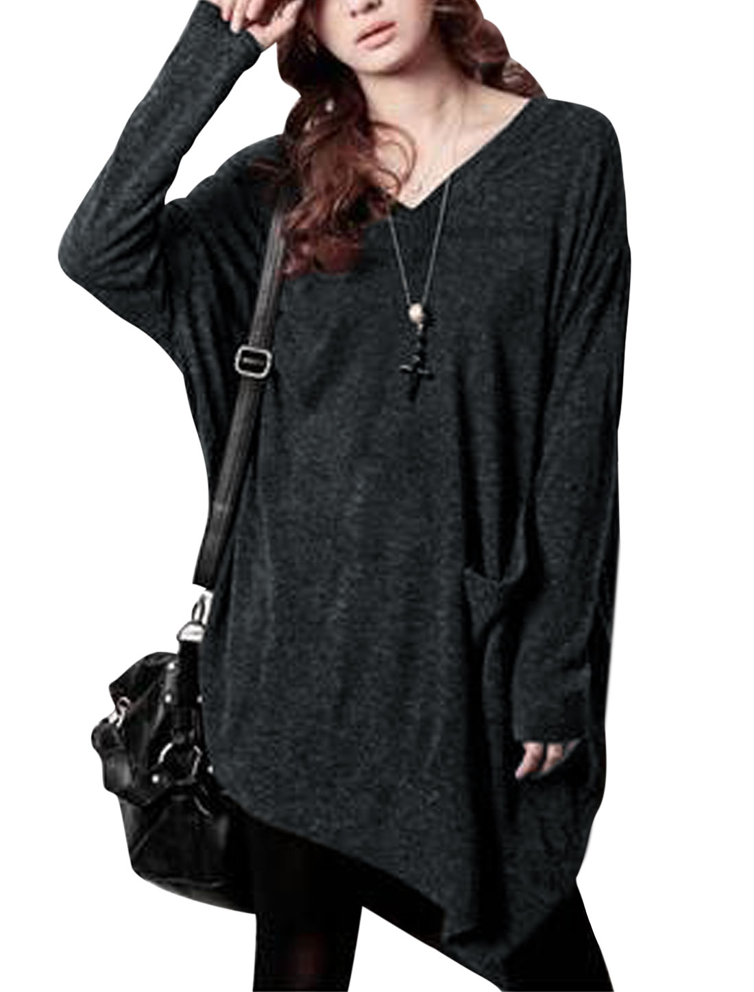 Women Slant Pocket Front Asymmetric Hem Split Side Knit Shirt Dark Gray XS