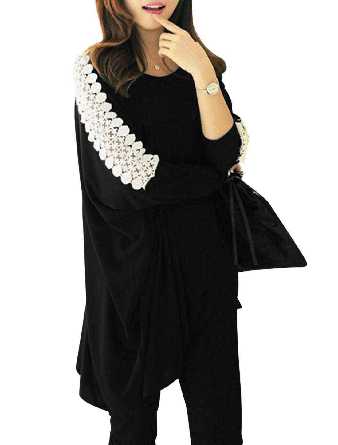 Lady Crochet Spliced Batwing Sleeve Asymmetric Hem Tunic Top Black S