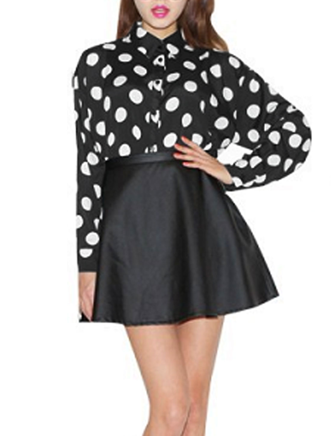 Lady Long Sleeve Dots Pattern Single Breasted Round Hem Blouse Black S