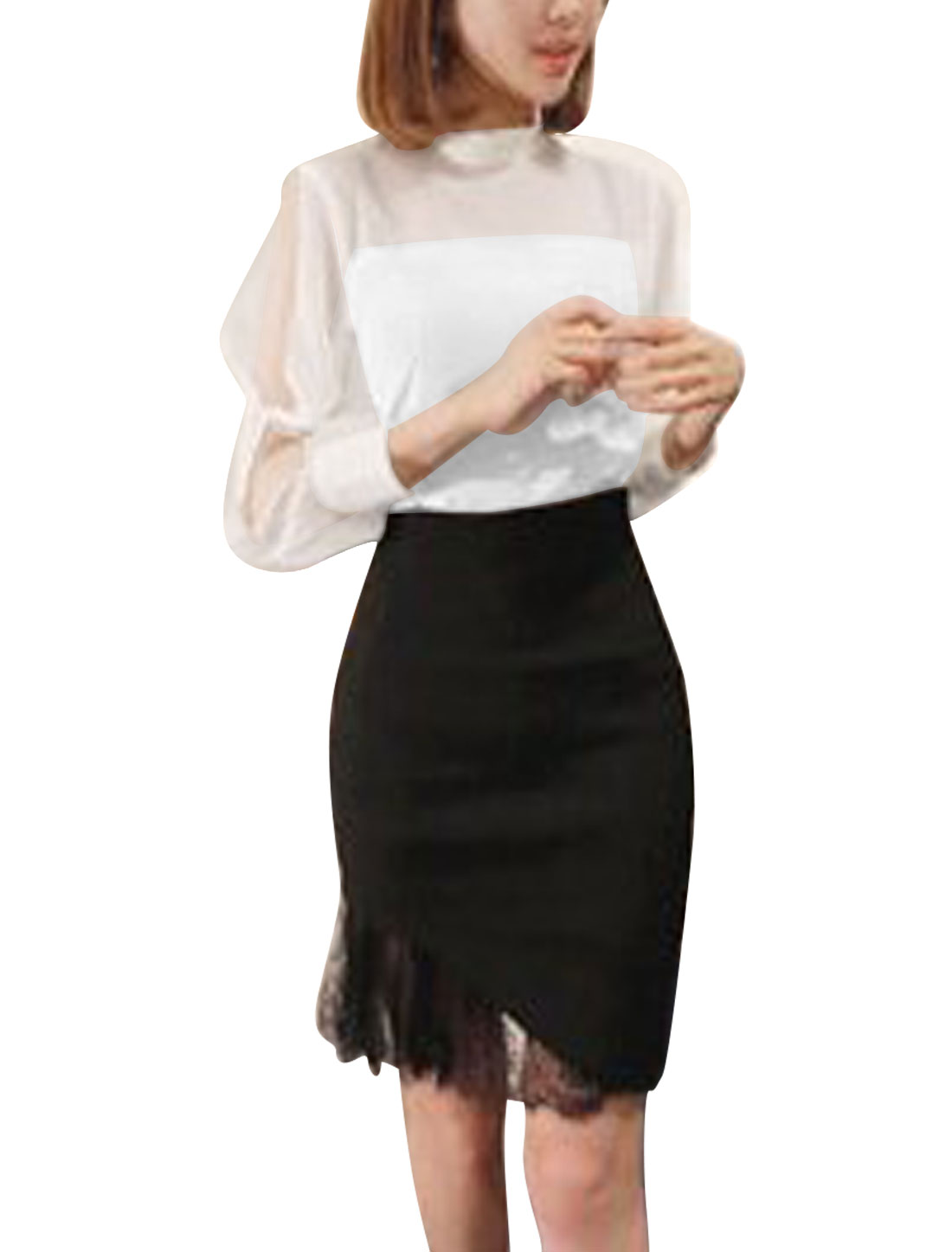 Lady Cut Out Sleeve Chiffon Panel Stand Collar Blouse White M
