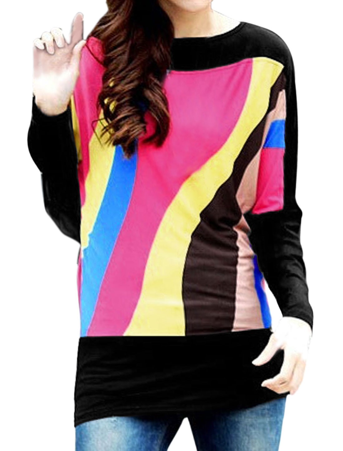 Lady Stripes Pattern Panel Color Block Leisure Top Fuchsia Black S